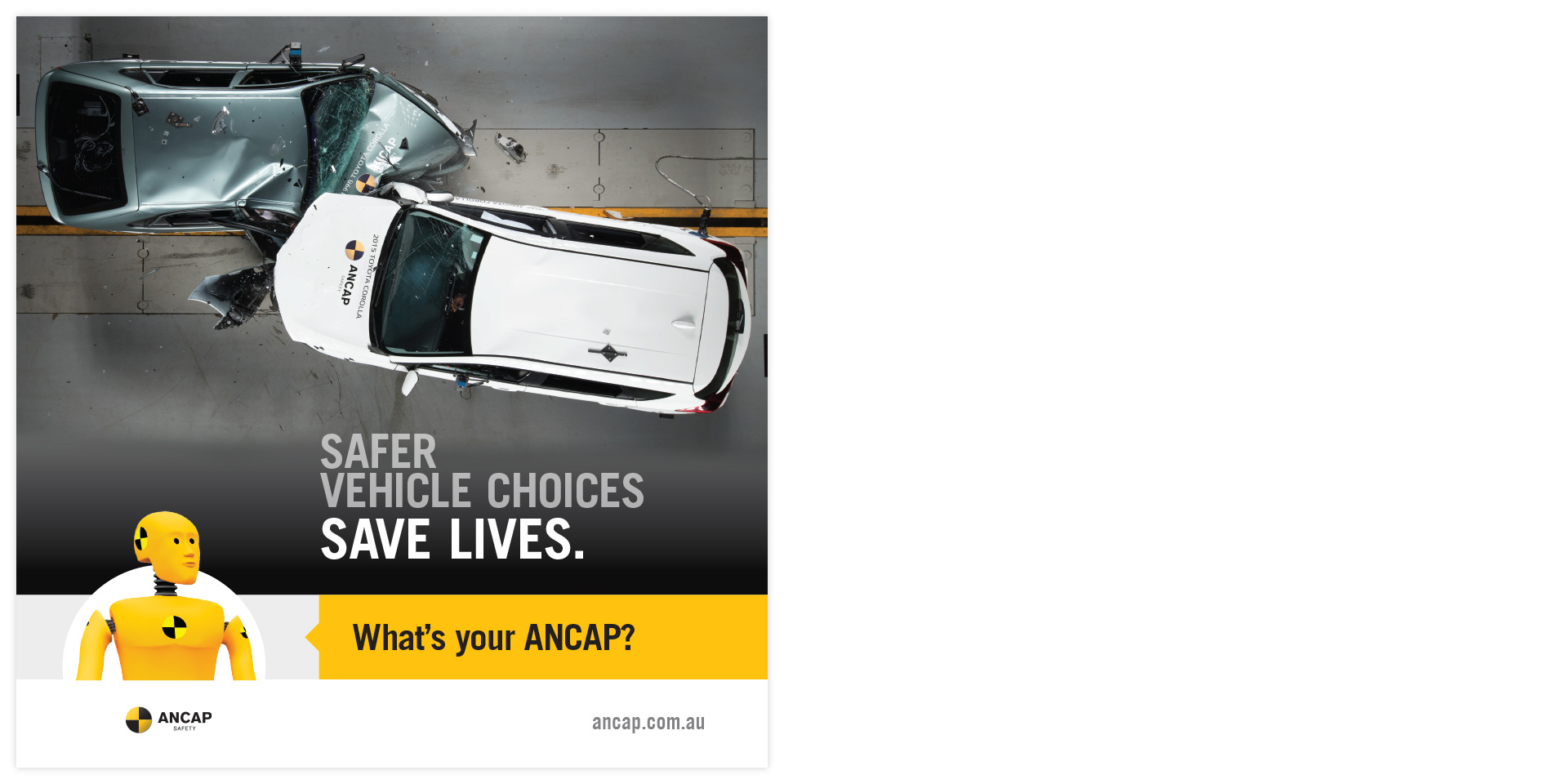 ANCAP bus back advertisement in a variety of formats