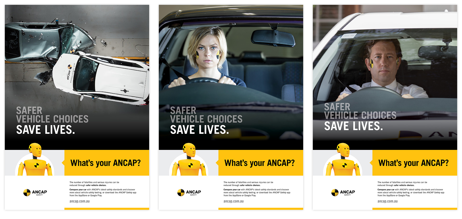 three full page ANCAP print ads in a variety of formats