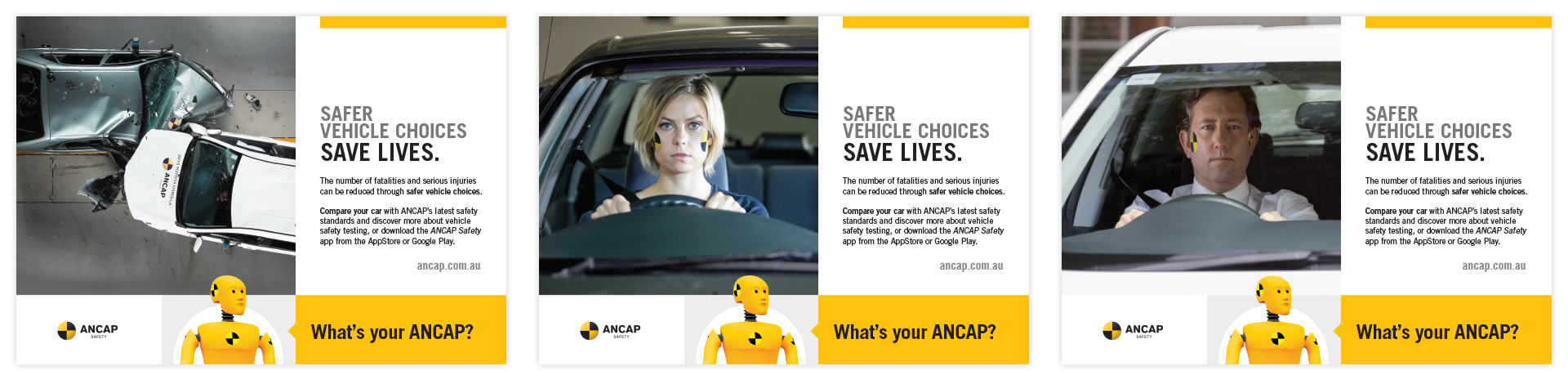 three half page ANCAP print ads in a variety of formats