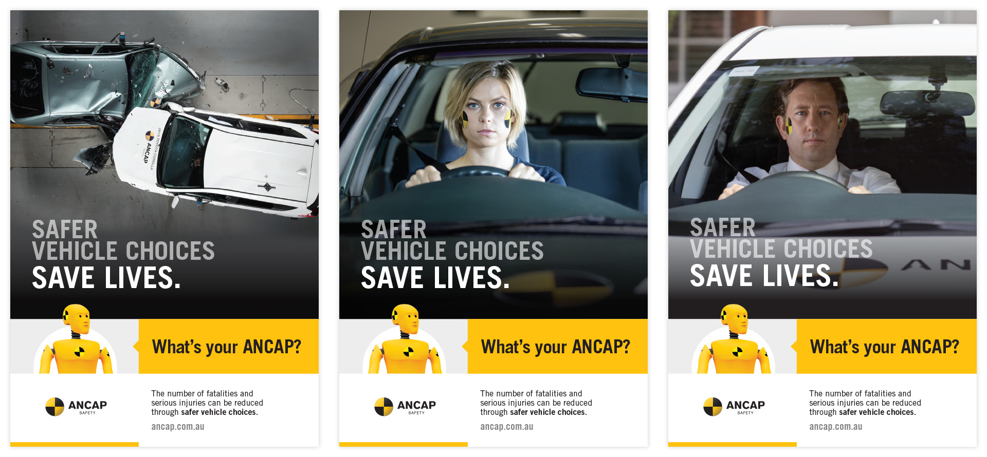 three quarter page ANCAP print ads in a variety of formats