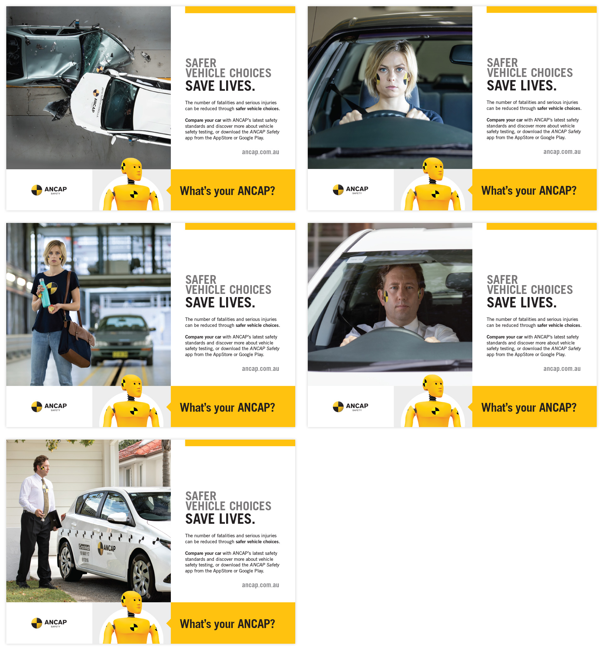 five ANCAP social media tiles in a variety of formats
