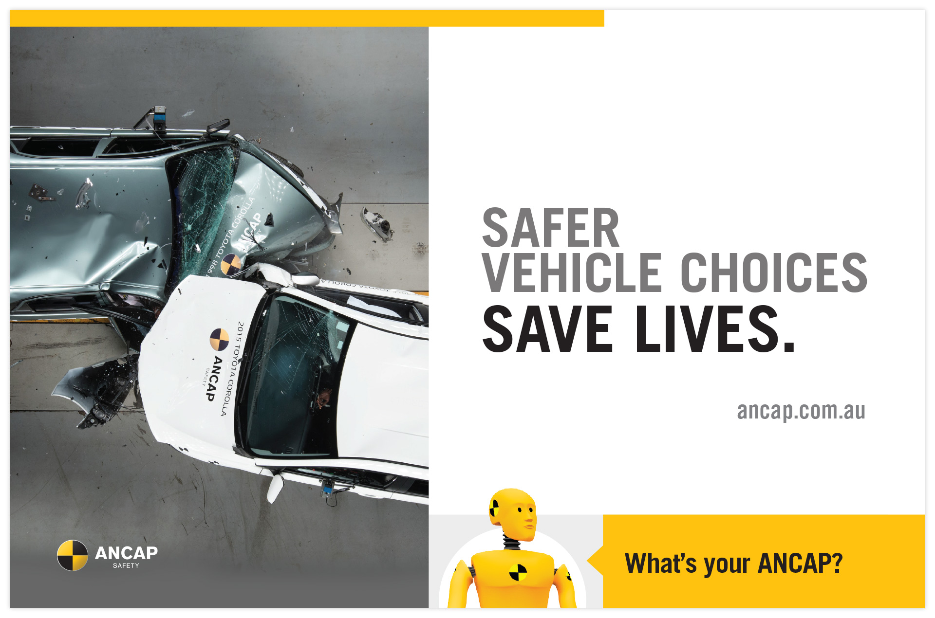 ANCAP rear window taxi advertisement in a variety of formats